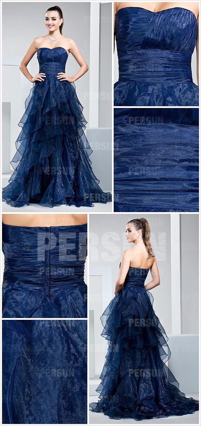 Robe de bal bleu de minuit en Organza