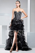 Goth Cocktail Corset Formal Dress with Ruffle Skirt and Appliques