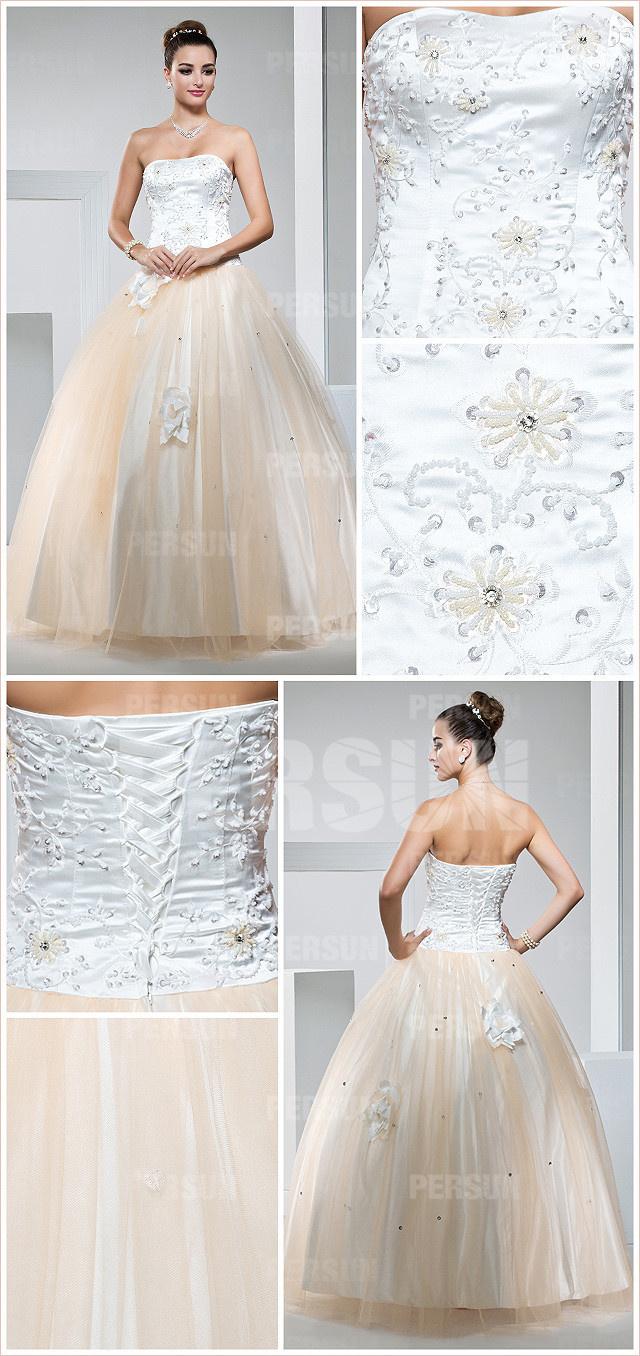 vintage robe princesse de fiançailles bicolore haute en broderies fleuries & jupe en tulle