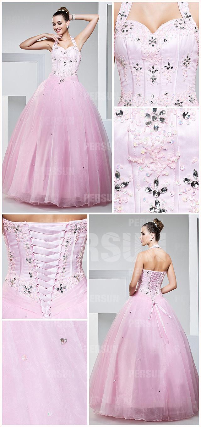 Robe rose longue avec laçage au dos