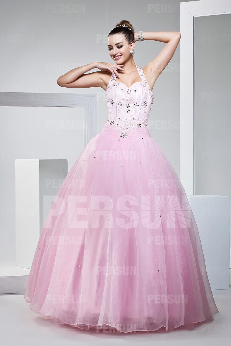 robe de bal rose princesse col halter orné de strass en tulle