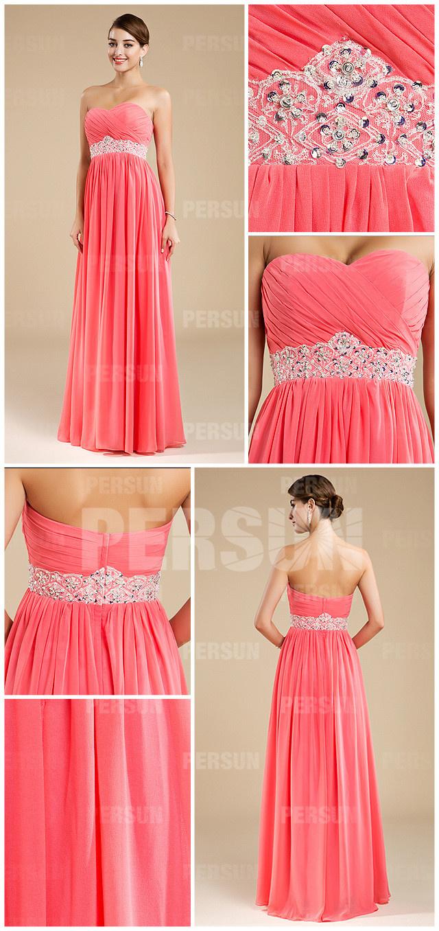 Allure robe bustier cœur rose corail pour témoin mariage