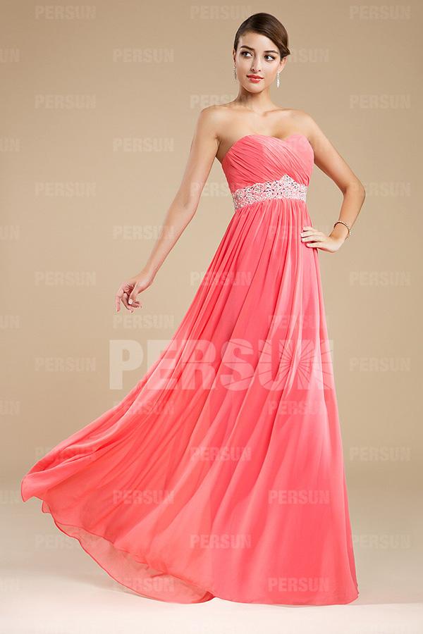 robe rose longue bustier coeur empire pour mariage