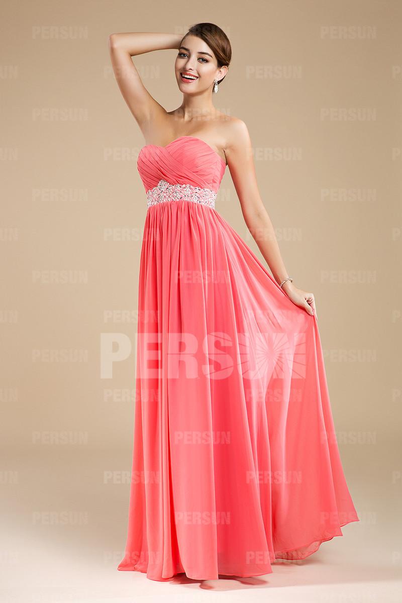 robe demoiselle d'honneur corail longue bustier coeur plissé ceinturé