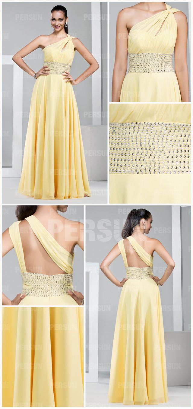 robe longue de gala asymétrique jaune longue taille ornée de paillettes
