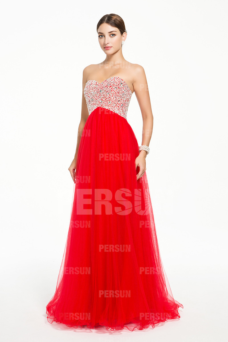 Robe soirée rouge bustier pailleté style empire longue sol