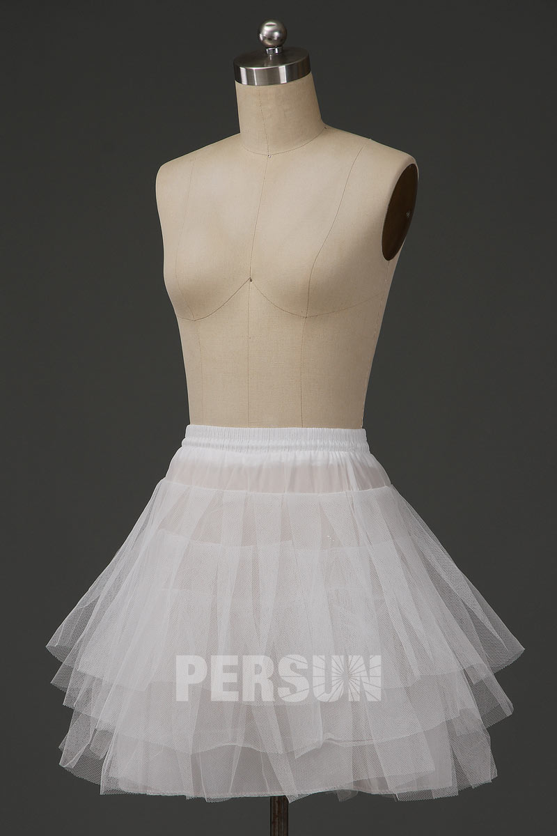 Mini jupon pour robes de mariage et soirée sans cerceaux en nylon et tulle