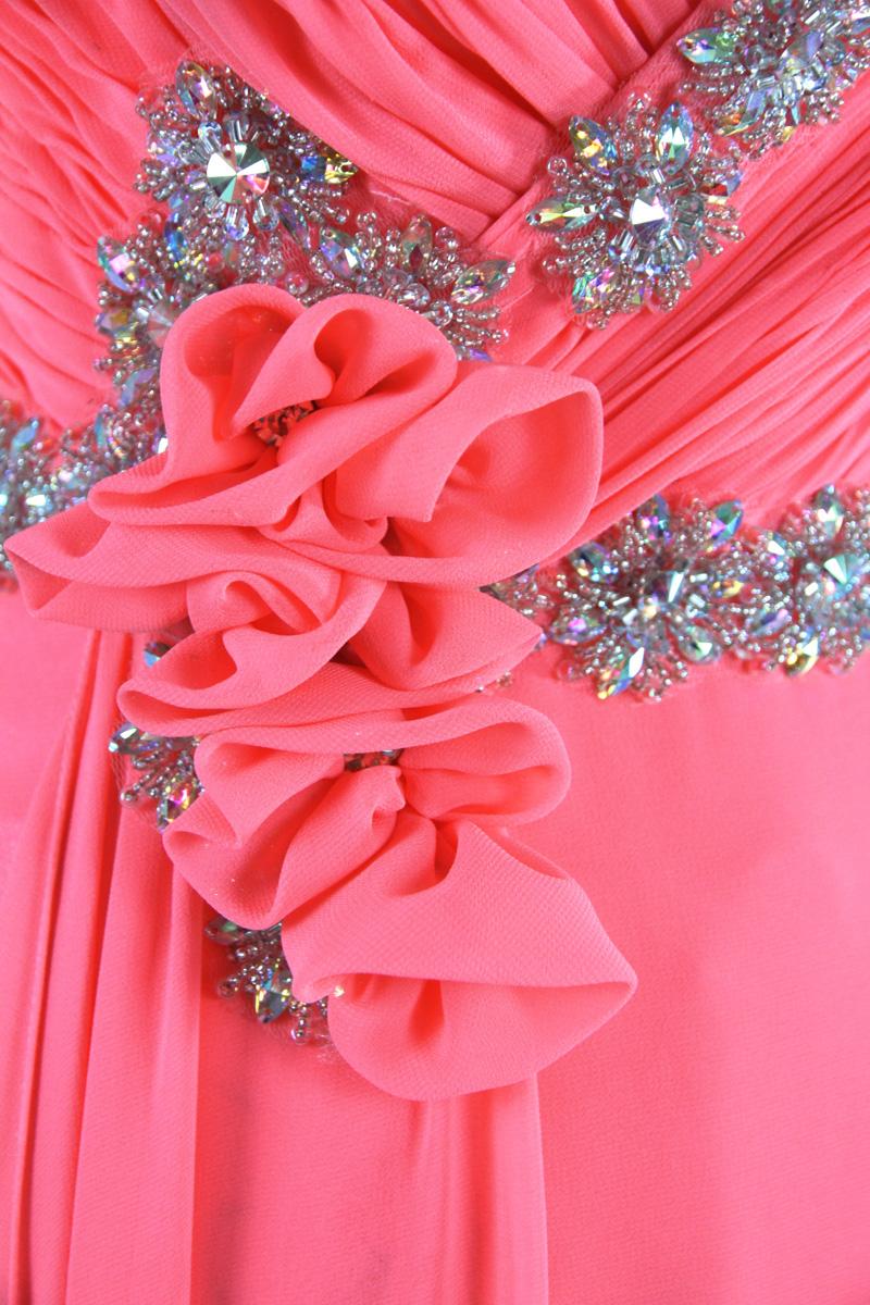 robe de soirée rouge corail en mousseline