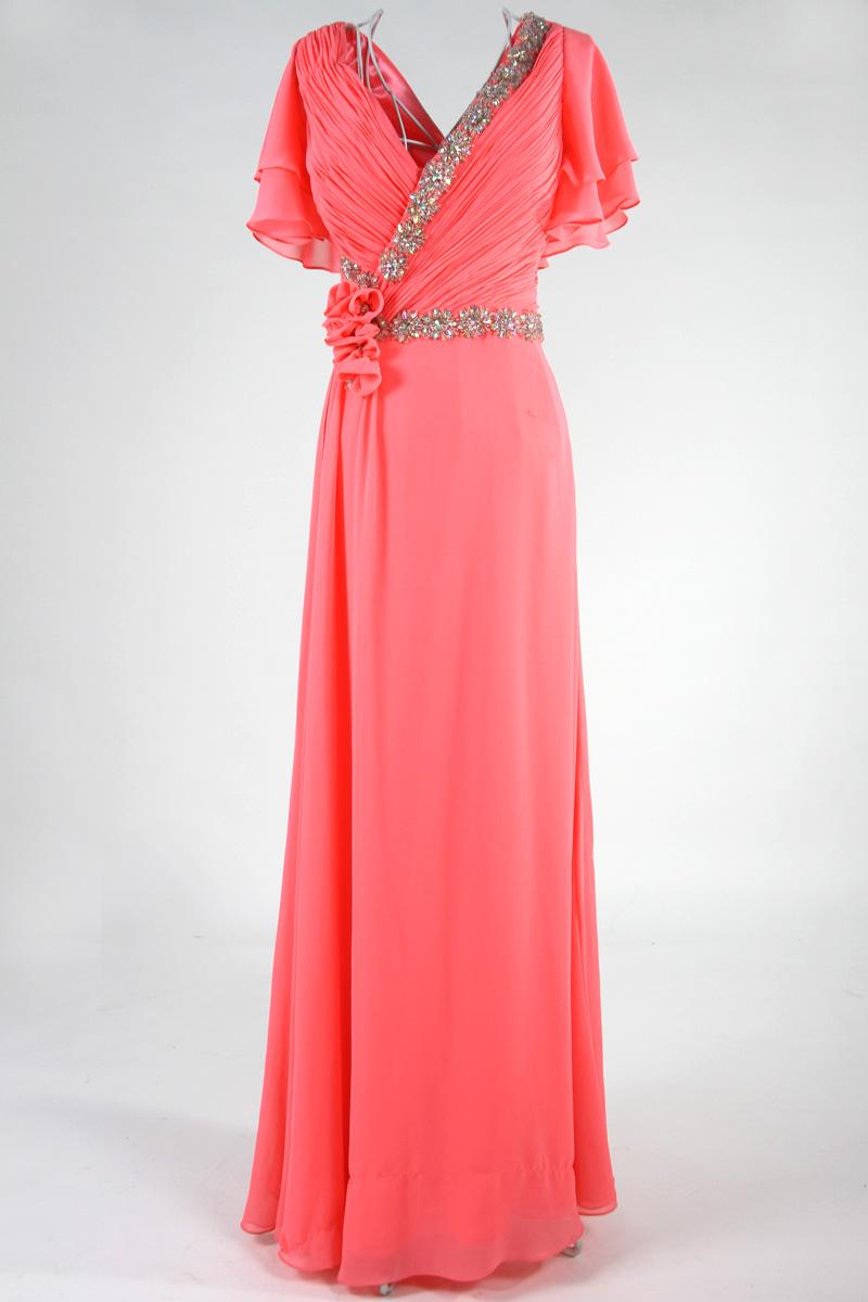 robe de soirée portefeuille encolure v plissé embelli de strass avec manches