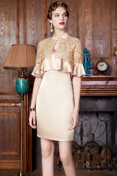 Tailleur droite élégante doré champagne pour mère & invitée mariage