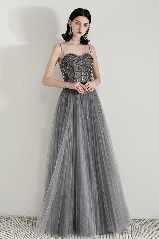 robe de bal longue grise haut embelli de bijoux à bretelle fine