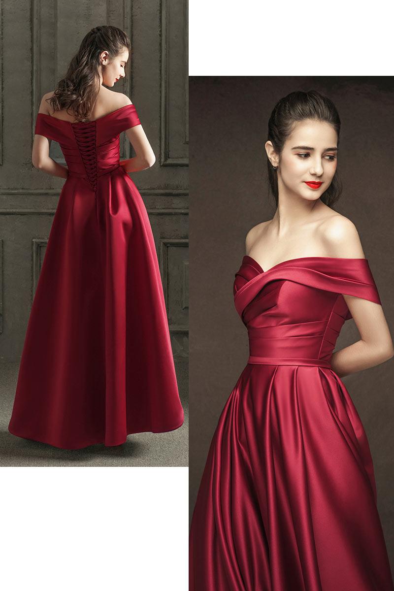 robe de soirée rouge rubis en satin pour mariage décolleté bardot