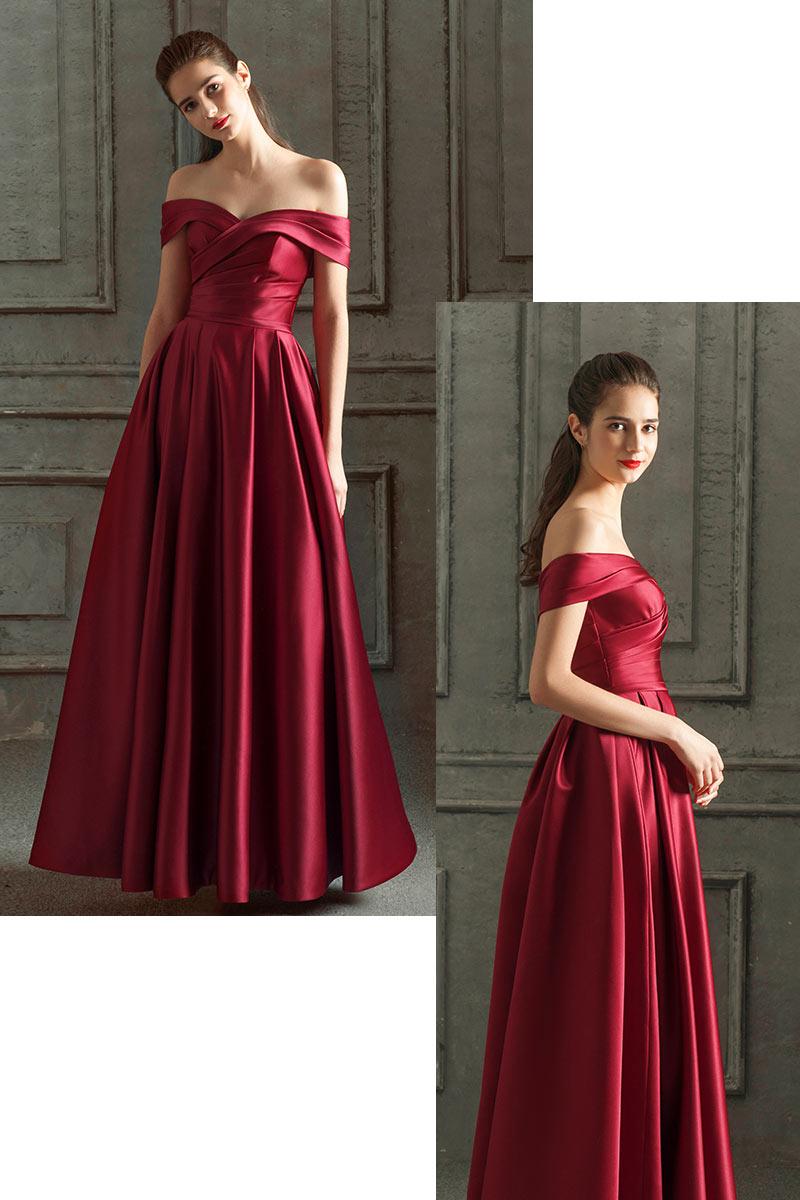 robe de soirée longue rouge rubis classe en satin à col bardot