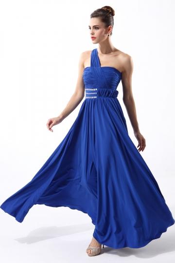 Robe bleue de soirée seule épaule ornée de strass