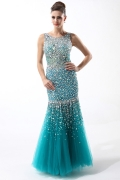 Blue Mermaid Tulle Round Neck Natural Rhinestone Evening Dress