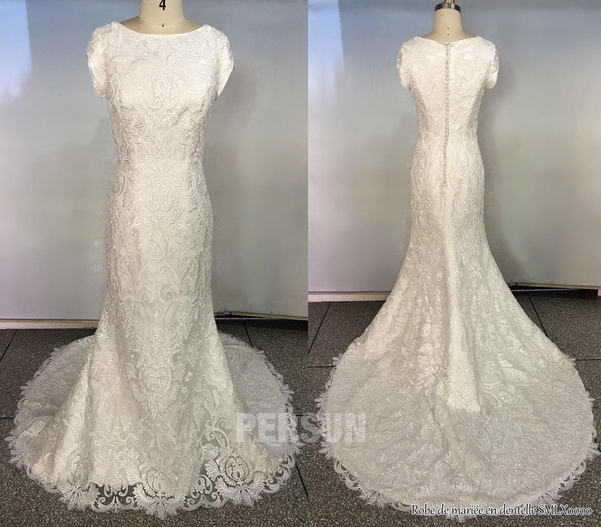 robe de mariée modeste 2020 en dentelle vintage dos fermé