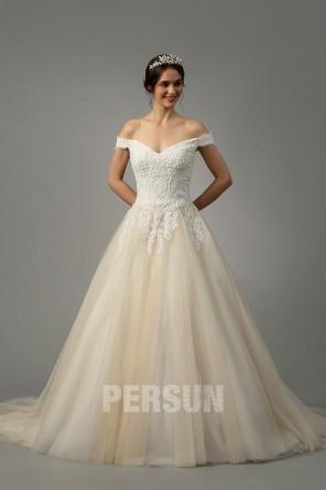 Morgane : Robe de mariée bardot champagne clair à bustier appliqué de guipure & jupe pailletée 2021