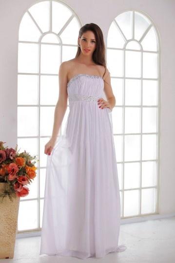 Robe de mariée plage Empire sans bretelle au ras du sol ornée de bijoux