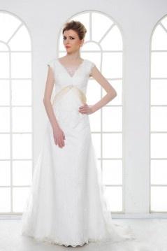Robe de mariée dentelle à Ligne-A avec mancheron encolure en V à traîne Court