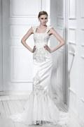 Meerjungfrau Ärmelloses Stickerei Brautkleid mit Schnürung aus Satin