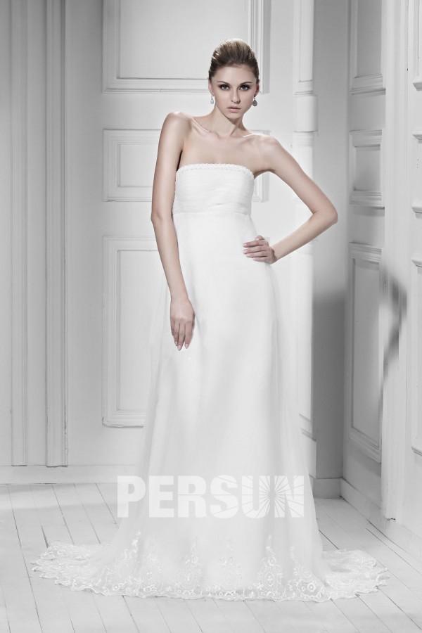 4611487601ad Robe de mariée simple garnie de dentelle Empire sans bretelle à traîne  Court – Persun.fr