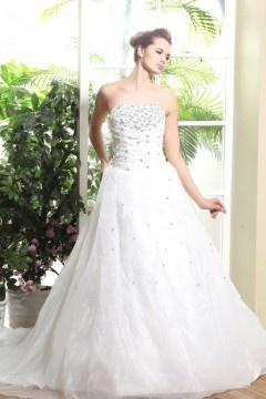Robe de mariée de luxe à Ligne-A sans bretelle au ras du sol ornée de bijoux