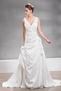 V Ausschnitt Kapelle Schleppe Applikation Blume gefaltetes Brautkleid aus Taft