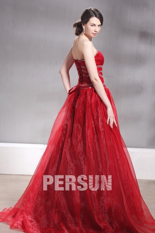 Vintage robe de cérémonie rouge buster cœur dos laçage