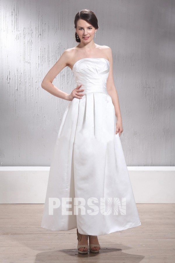 robe de mariée simple mi-longue bustier en satin
