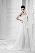 Robe de mariée vintage Empire sans bretelle à traîne Watteau