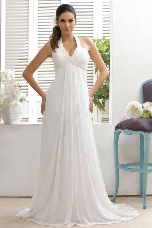 Robe de mariée sexy décolleté plongeant en V à col américain et traîne Court