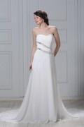 Reißverschluss Kapelle Schleppe Empire Perlen verziertes Hochzeitskleid