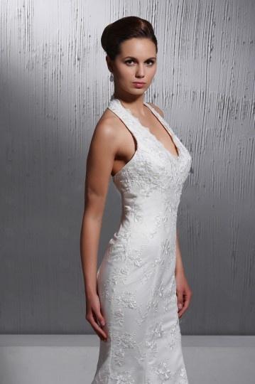 robe de mariée longue sexy col américain