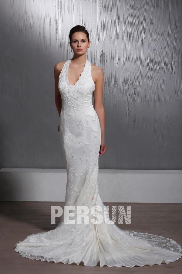 robe de mariée dentelle sirène à col américain à traîne chapelle
