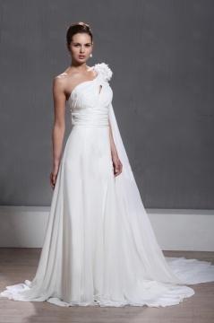 Robe de mariée moderne asymétrique à traîne Watteau ornée de fleurs