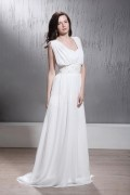 Schlichtes Empire Falten Brautkleid aus Chiffon mit Pinsel-Schleppe