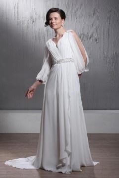 Robe de mariée Empire encolure en V à traîne Court à manches fendue