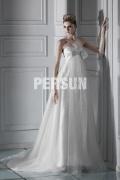 Robe mariée moderne en tulle Empire décolleté en cœur à traîne Chapel nœud papillon
