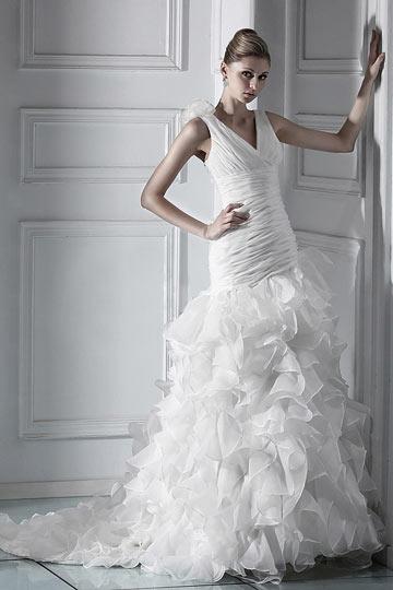 robe de mariée sirène col en V jupe à volants
