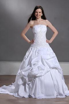 Robe de mariée blanche bustier drapé avec jupe bouillonné