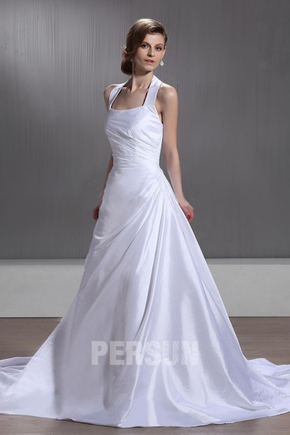 Robe de mariée simple à Ligne-A à col américain à traîne Chapel