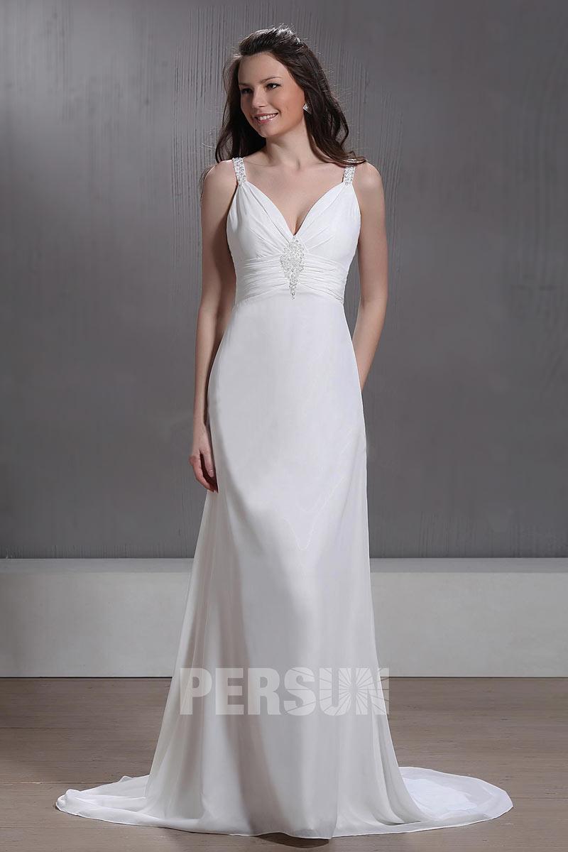 robe de mariée simple colonne col v taille drapé