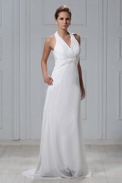 Robe de mariée plage à Ligne-A ruché sur la poitrine à col américain