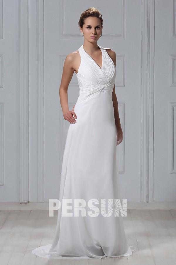 Robe de mariée plage simple à col américain bustier drapé