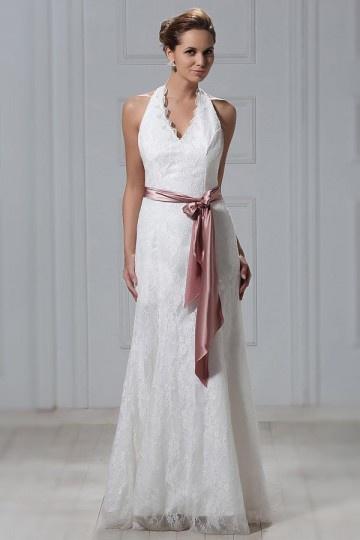 Robe de mariée dentelle moderne Empire à col américain au ras du sol