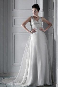 Robe de mariée princesse à Ligne-A encolure en V à traîne Cathédrale