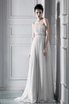 Robe de mariée de luxe Empire sans bretelle à traîne Chapel
