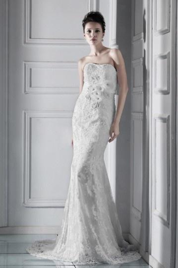 Robe de mariée dentelle Trompette / Sirène sans bretelle à traîne Chapel