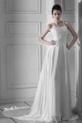 Robe de mariée vintage à Ligne-A à col américain au ras du sol broderie
