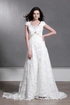 Robe de mariée dentelle au ras du sol à manches courtes à Ligne-A